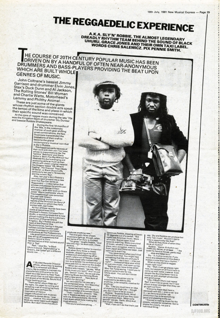 Sly & Robbie NME feature '81