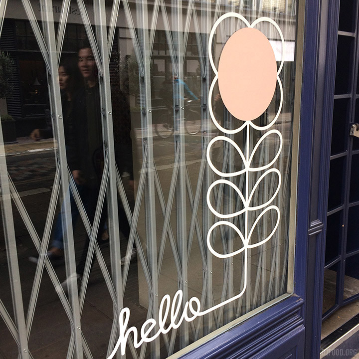 Orla Kiely window hello